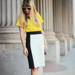 Zara black and white colorblock skirt
